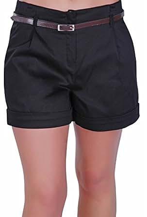 EyeCatch - Cuba Ladies Belted Shorts Womens Smart Turn Up Hot Pants