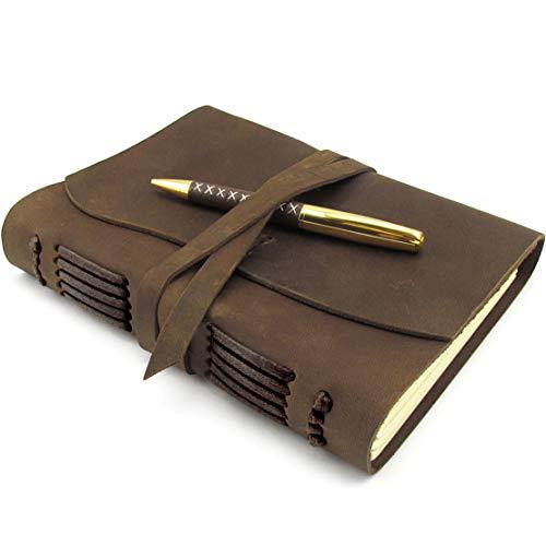 Diario De Cuero, Diario De Viaje, A5 Cuaderno De Escritura Hecho a Mano Vintage Para Hombres Mujeres y Viajeros Antiguo y Suave Cuero Rústico 20x15cm Regalo Perfecto Para Escribir Poesía, Bolígrafo
