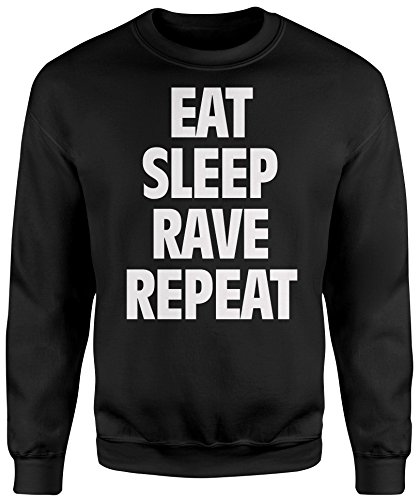 Felpa Unisex Eat Sleep Rave Repeat - Felpa Set in girocollo LaMAGLIERIA Nero