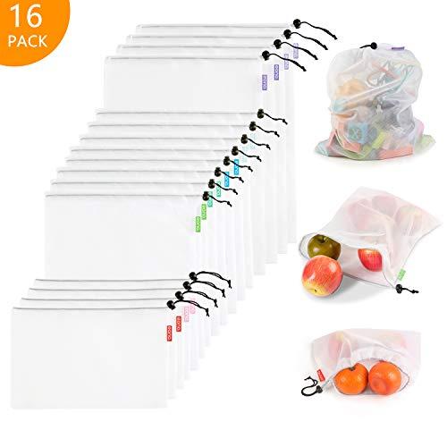 Eono by Amazon - Bolsas Compra Reutilizables Ecológicas Bolsa de Malla para Almacenamiento Fruta Verduras Juguetes Lavable y Transpirable,16 Set (4L+8M+4S)