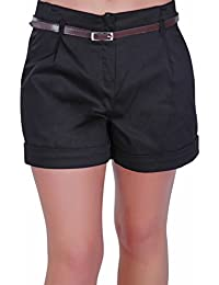 Eyecatch - Kuba Damen Shorts mit Gürtel Frauen Smart Turn Up heiße Hosen Größen 34 - 46