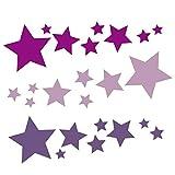 24 Stück Sterne Aufkleber selbstklebende Sterne Sticker Fenster Weihnachtsdekoration Wandtattoo Kinder Autoaufkleber violett flieder lavendel