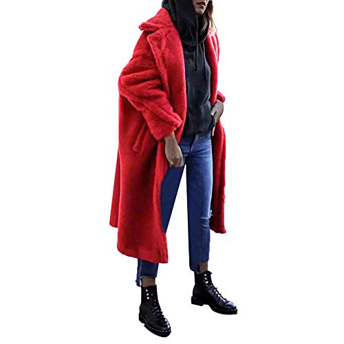 Damen Pelz Mantel MYMYG Elegant Lang Warm Fellmantel Winter Fur Coat Jacke Windbreaker Cardigan Lose Freizeit Wintermantel(rot,EU:36/CN-M)