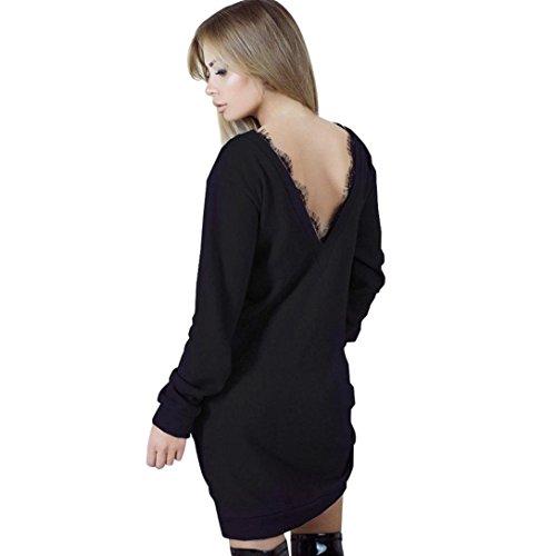 Langarm Hoodie Damen Sunday Mode Spitze Rückenfrei Reine Farben Einfaches Langes Hülsen Partei Kleid (Schwarz (Sexy), L) (Stretch Shirt Sleeve Zeigen)