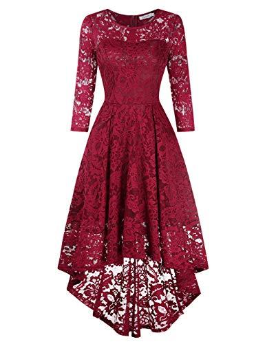 KOJOOIN Damen Abendkleider/Cocktailkleid/Brautjungfernkleider für Hochzeit Unregelmässiges Kurzes Spitzenkleid Langarm Bordeaux Weinrot L