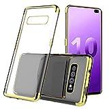 Webla Pour Samsung S10 Plus 6.3Inch Affaire Claire Antichoc Protection Tpu Gel Cover Or Téléphone Mobile Galvanoplastie Trois Sections Étui De Téléphone Mobile