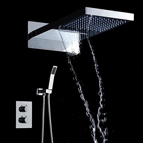Mischbatterie, Thermostat Dusche Set 55,9cm Regen und Wasserfall High Class chrom Finish Wasserhahn mit verdeckter Box Bad & Dusche Armaturen
