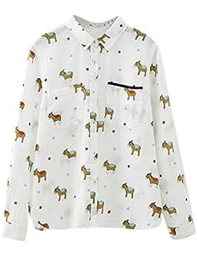 Azbro Mujer Moda Camisa Estampado Animal Dibujo con Botones