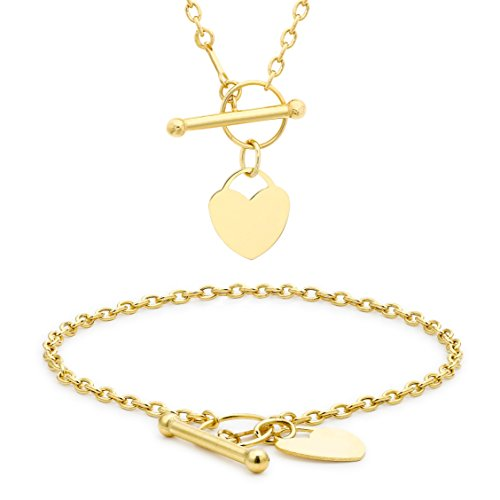 """Carissima Gold 9ct Yellow Gold Mini Heart T-Bar Necklace and Bracelet Set (46cm/18"""" and 18cm/7"""")"""