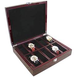 Bordeaux-rote Uhrenbox aus Holz für 10 Uhren