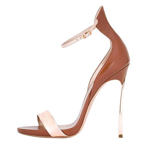 De Marrom Cores Altos Dedo Tornozelo Misturadas Open Stiletto Sandálias saltos Ladies 7CEAqxw