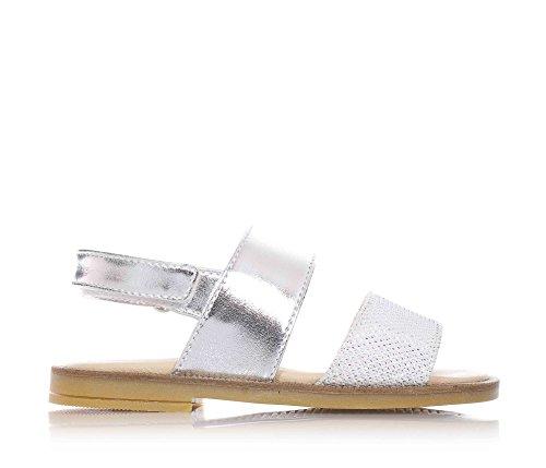 FLORENS - Sandalo argentato in pelle, con chiusura a strappo, fascia anteriore scamosciata tempestata di strass, Bambina, Ragazza-20
