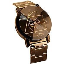 Rcool - Reloj de pulsera, de cuarzo, diseño dial, Marea aguja de la brújula, Acero inoxidable, cuarzo analógico para Hombre Mujeres Unisexo