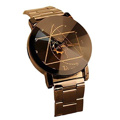 Rcool - Reloj de pulsera, de cuarzo, diseño dial, Marea aguja de la brújula, Acero inoxidable, cuarzo analógico para Hombre Mujeres Unisexo (Negro para Hombre)