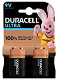 Duracell Ultra 9 V con Powercheck, Batteria Alcalina, Confezione da 2, 1.5 V 6LR61 MX1604 Ottimale per rilevatore di fumo
