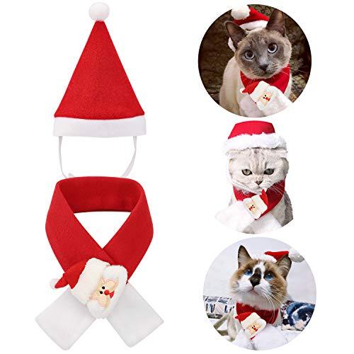 QKURT Weihnachten Weihnachtsmann Mütze Schal Anzug für Katzen, Haustier Weihnachten Kostüme Weihnachten Kostüm Kleidung für Katzen und kleine Hunde Cosplay