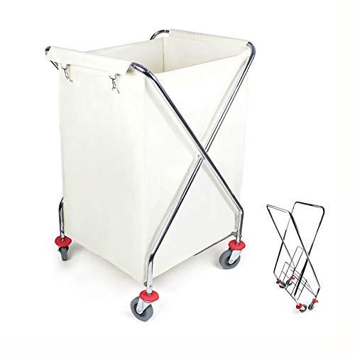 Weißer faltender Wäscherei-Sortierer-Wagen mit Rollen-Rädern, Hotel-Handstoß-Multifunktionsraum-Reinigungsservice-Auto, 4 leise Riemenscheiben -