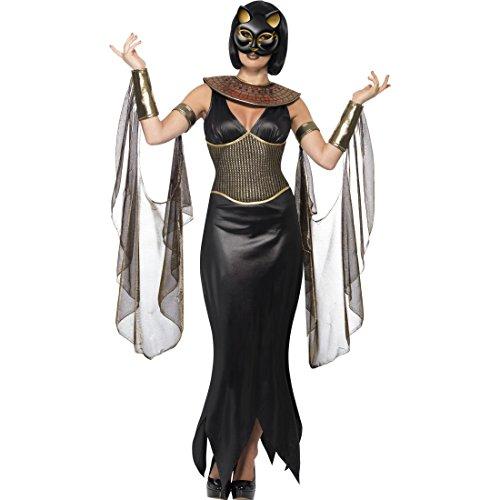 Ägyptische Kostüm Weibliche - Amakando Bastet Damenkostüm - L (42/44) - Verkleidung weibliche Gottheit außergewöhnliches Katzenkostüm Outfit Göttin des Mondes Ägypterin Kostüm Halloween Kostüm Ägyptische Katzengöttin