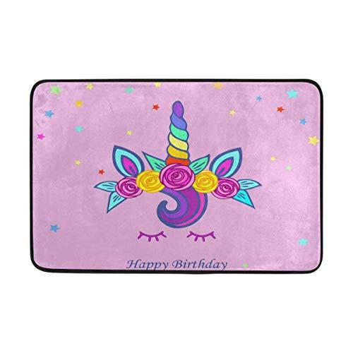 Süße Einhorn Tiara Regenbogen Horn Floweres Fußmatte Dekorative Bodenfläche Teppich Willkommen Indoor Outdoor Front rutschfeste Fußmatte Badematte