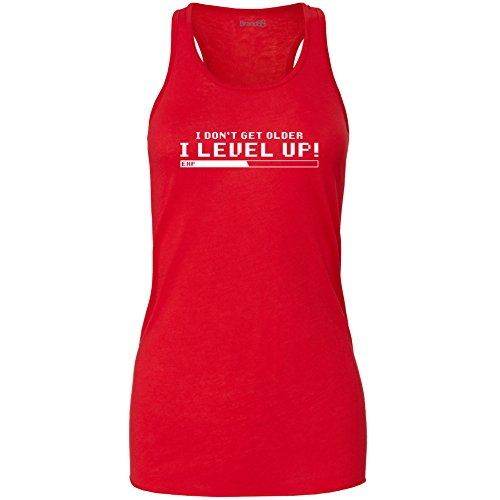 Brand88 - I Don't Get Older I Level Up!, Damen Flowy Racer Tank Top Rot