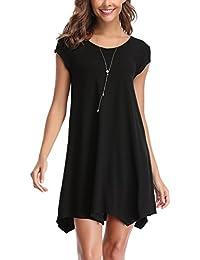 Abollria Damen Shirtkleid Casual Kurz Kleider Stretch Lässig Sommerkleid für Freizeit