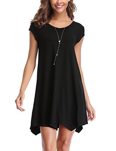 Abollria Damen Shirtkleid Casual Kurz Sommerkleid Stretch Lässige Strandkleider für Freizeit