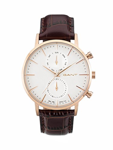 Gant Park Hill Day-Date Men's Quartz Watch with White Dial Analogue Display and Brown Leather Strap W11203