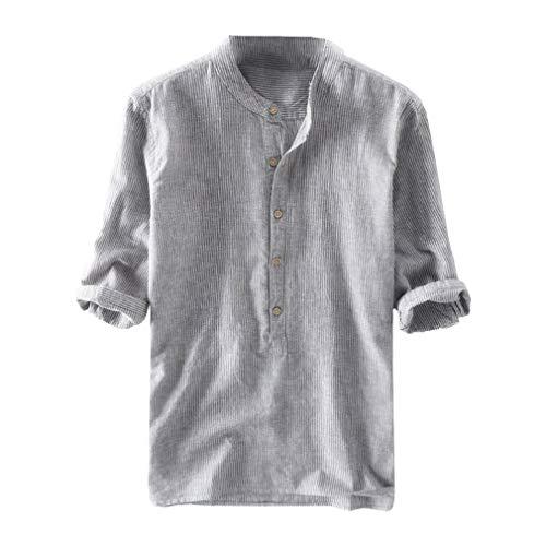 Yunhou cotone e lino mezza manica maglietta - uomo casual camicie stretch traspirante camicie slim fit pulsanti blu chiaro blu scuro grigio albicocca