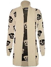 Pickle ® pour femme Chocolat Taille :  Skull Boy Friend en tricot Pull en tricot