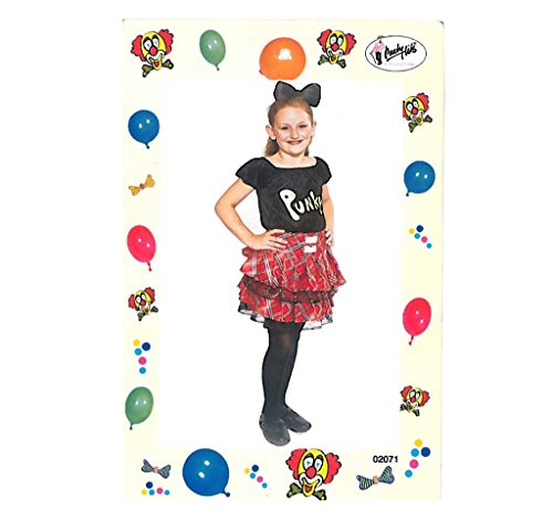 Kinderkostüm Punky- Kleid, Punk, Rebell, Rebellin, Rock, Punkgirl, Punk Mädchen (152)