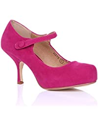 d89097eb4a24 NEW WOMENS LADIES STRAP MID HEEL CASUAL SMART WORK PUMP COURT SHOES SIZE 3-8