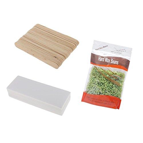 Sharplace Kit Épilation des Poils du Corps 300g Hard Wax Beans à Epiler + 100pcs Papier Dépilatoire + 50pcs Spatule en Bois Epilation sans Bande sans Douleur