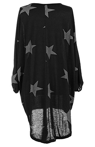 Damen Oversized Long Shirt Elegant Tunika Asymmetrisch Langarm Stern-Druck Baggy Lose T-shirt Tops Bluse Schwarz