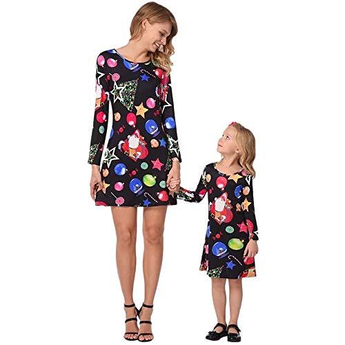 Beginfu Weihnachten Kleinkinder Kinder Mädchen Cartoon Candy Star Print Kleid Outfits Kleidung Beiläufig A-Linie Kleid Stilvoll Prinzessinenkleid Blumenkleid Niedliches Verspieltes Oberteil