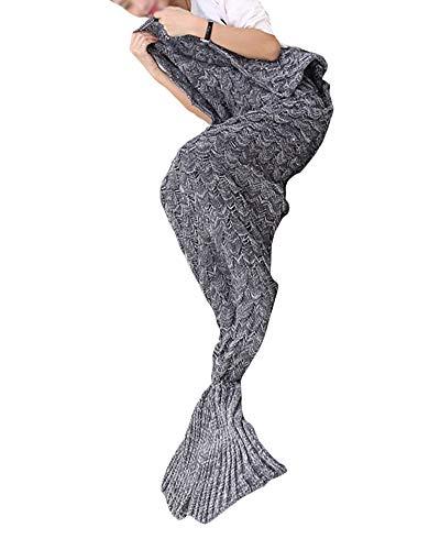 PengGeng Warm und weich Meerjungfrau Schwanz Decke Handwerk Crochet Snuggle Cozy Sofa Bett Schlafsäcke Freizeit