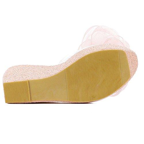 Oasap Damen Keilabsätzen Ohne Verschluss Transparente Sandalen Black
