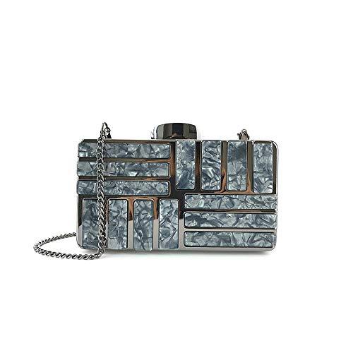 YONGYONG-bags Damen Handtaschen Bright Acryl Hardware Nähte Joker Kleid Dinner Party Bag (Color : Black)