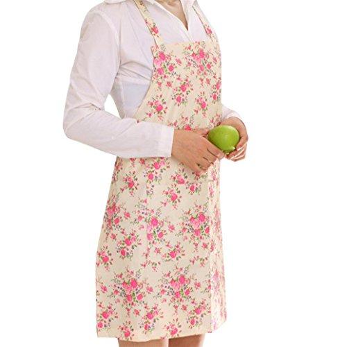 Bodhi2000 Cuisine Femme Motif floral Tablier Maison Tablier de cuisine Bavoir, PVC, rose, Taille unique