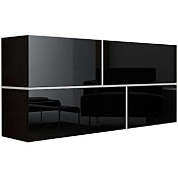 Design Highboard RIO hochglanz Lack schwarz Kommode 4