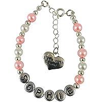 Fatto con amore per bambini personalizzate bracciale di ragazze rosa bianco e argento a colori con un Made con amore