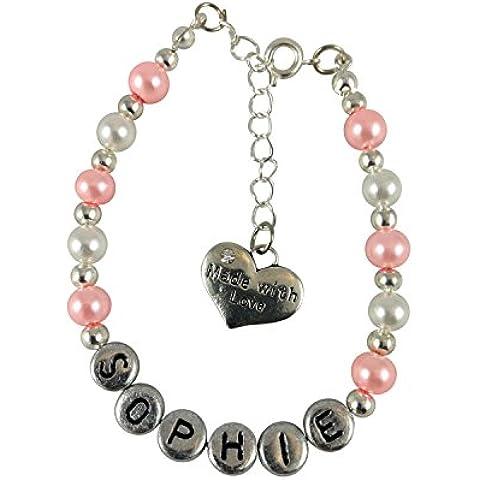 Hecho con pulsera del amor personalizado para niños niñas rosa blanco y plata en color con un hecho con el encanto de