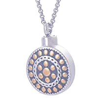 Gold Round Dot Tag Memorial Urn Necklace Stainless Steel Cremation Jewelry Pendant-Free Engraving