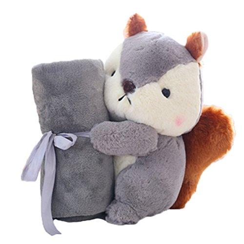 Autos Tröster (Good Night Eichhörnchen Spielzeugkissen mit Decke, Büro Mittagessen Schlafkissen Auto Kissen, 13,8'')