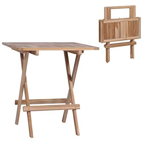 vidaXL Bois de Teck Massif Table Bistro Pliable Terrasse Patio Table de Jardin