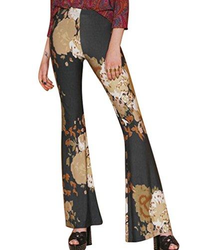 YOUJIA Vintage Pantalons Palazzo à haute taille évasés Leggings jambe large pour Femme Imprimé #6 Floral