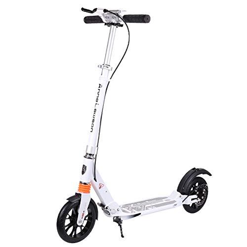 Mltdh Adult Kick Scooter, höhenverstellbarer City Scooter Klapproller Maximale Tragfähigkeit 100 Kg,Weiß,OneSize