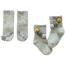 DEBAIJIA 2 Pares de Espesar Calcetines de Algodón para Bebés Suave y Elástico Cálido Lindo Vistoso