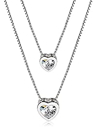 J.Rosée Collar Plata de Ley 925 Cadena de Plata 3A Circón Con Platino para Mujer para Madre con Caja hermosa