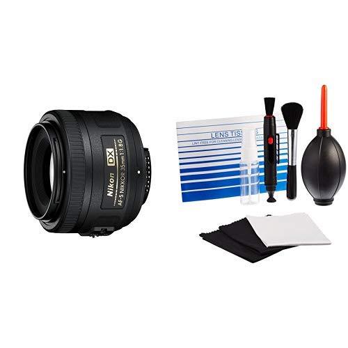 Nikon AF-S DX Nikkor 35mm 1:1,8G Objektiv (52mm Filtergewinde) AmazonBasics - Reinigungsset für DSLR-Kameras und empfindliche elektronische Geräte (Nikon D5200 Dslr-kamera)