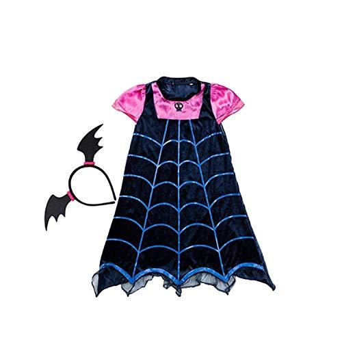 Lolo home clothing Batsuit Vampir Abendkleid Halloween Vampir Kleid + Fledermaus Kopfbedeckung (140#, Schwarz)